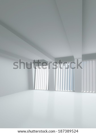 Interior light room with large windows, white, flooded with light. 3D visualization of a modern interior.