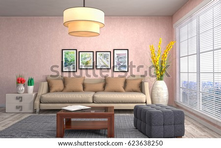 Furniture Design Living Room 3d strange living room interior 3d design stock illustration
