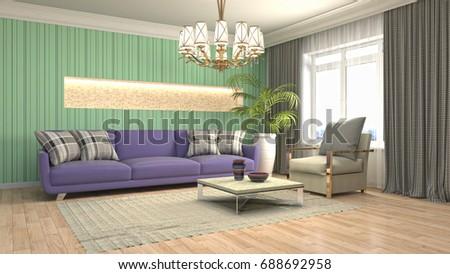 Interior Living Room. 3d Illustration Part 97