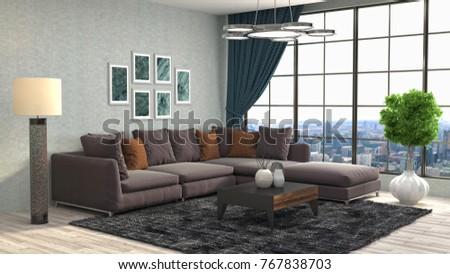 Interior Living Room 3 D Illustration Stock Illustration 767838703