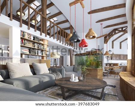 Interior livingroom loft style maisonette modern stock for Modern maisonette designs
