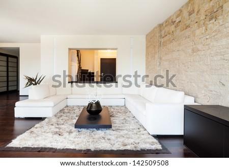 interior luxury apartment, beautiful living room - stock photo