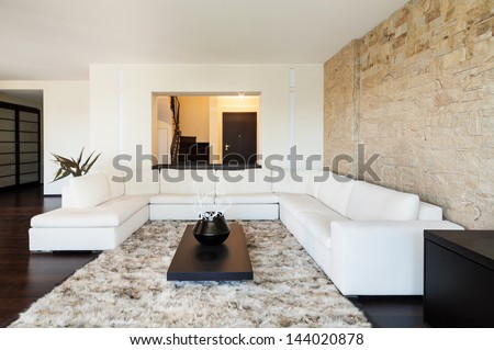interior luxury apartment, beautiful living room  - stock photo