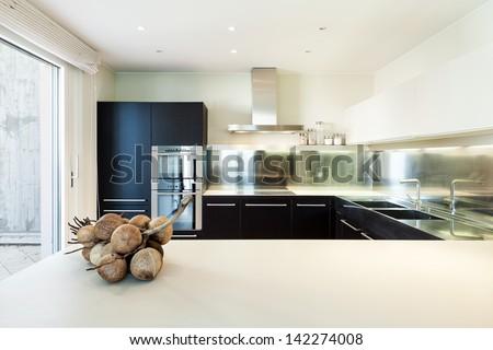 interior luxury apartment, beautiful modern kitchen - stock photo