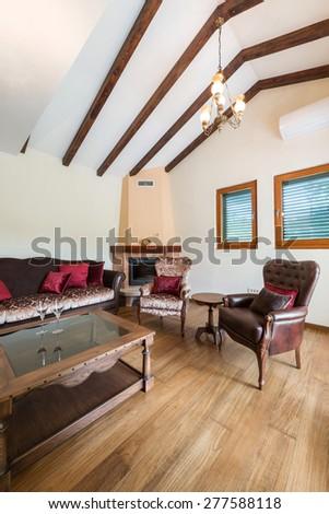 interior luxury apartment, classic living room - stock photo