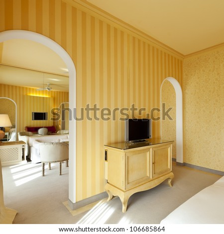 interior luxury apartment, comfortable suite, lounge view - stock photo