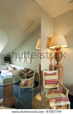 interior luxury apartment, comfortable suite, mirror image - stock photo