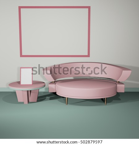 Interior mockup in soft light 3d illustration