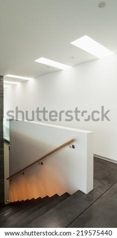 Interior, modern apartment, detail room, staircase - stock photo