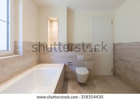 Interior, modern bathroom of a new apartment