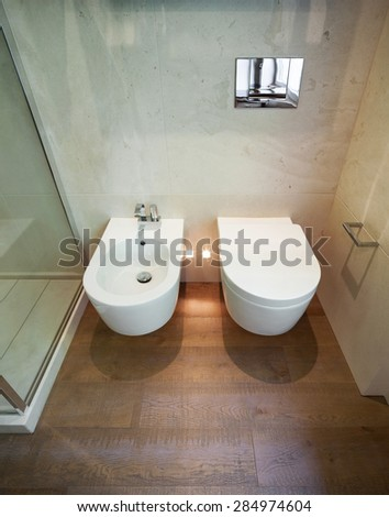 interior modern house,  bathroom, toilet and bidet view