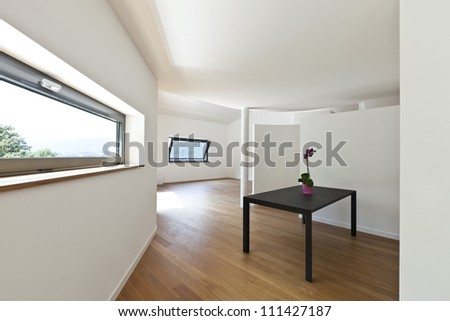 interior modern house, empty room with black table