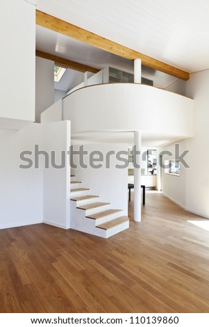 interior modern house, large open space - stock photo