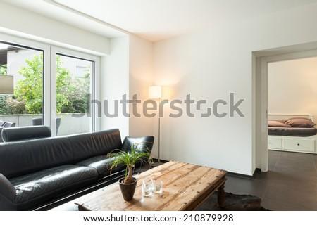 interior modern house, nice living room - stock photo