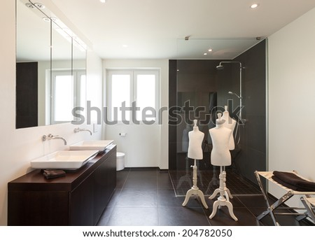 Interior modern house, wide bathroom - stock photo