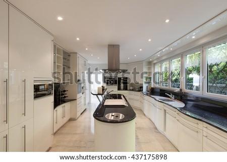 Interior, modern kitchen of a luxury home - stock photo