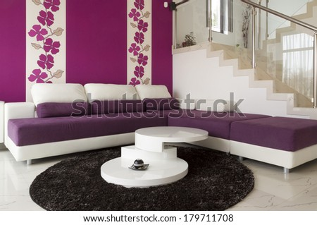 Interior modern living room with  tiled floor.  - stock photo