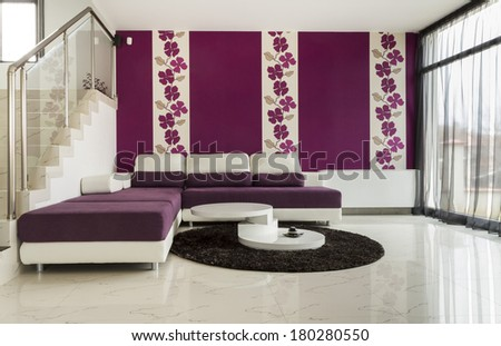 Interior modern living room with  tiled floor - stock photo