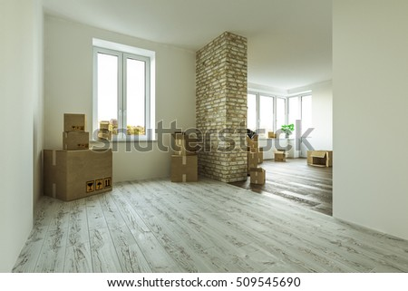 Interior moving house with cardboard boxes on floor. 3D rendering