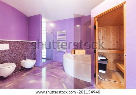 interior, new house, comfortable bathroom with sauna - stock photo