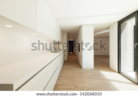 interior new house, modern white kitchen