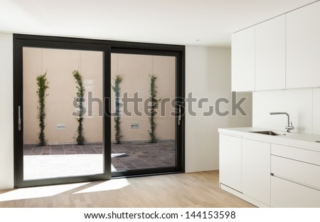 interior new house, modern white kitchen - stock photo