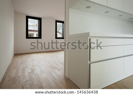 interior new house, modern white kitchen, detail