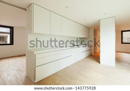 interior new house, modern white kitchen view