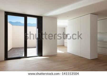interior new house, veranda view from the hall - stock photo