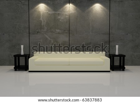 Interior night scene from 3D render - stock photo
