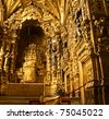 interior od baroque Santa Clara church, Portugal - stock photo