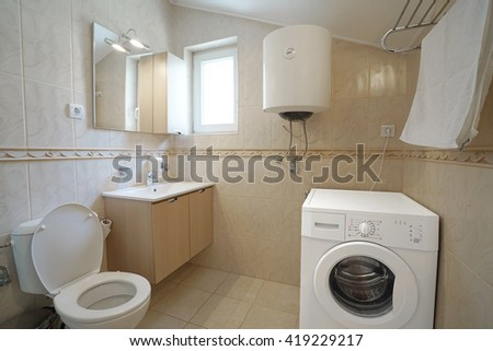 Interior of a bathroom in a guest house or an apartment