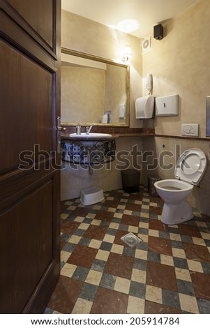 Interior of a bathroom in Irish pub