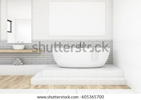 wall tub front view bathroom interior white tub stock illustration