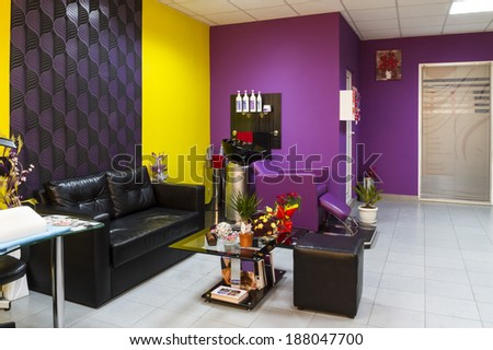 Interior of a beauty salon. Chair-washing in hairdressing salon, - stock photo