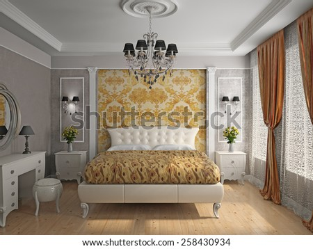 Interior of a bedroom room 3D rendering - stock photo