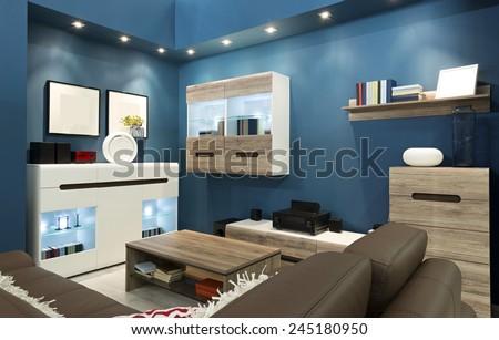 Interior of a blue living room - stock photo