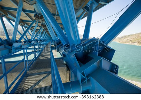 Interior of a bridge.