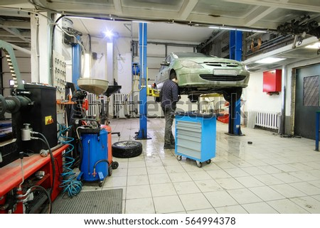 Interior of a car repair station
