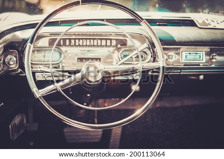 Interior of a classic american car  - stock photo