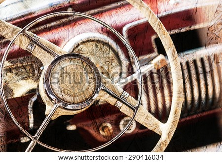 Interior of a classic vintage car - stock photo