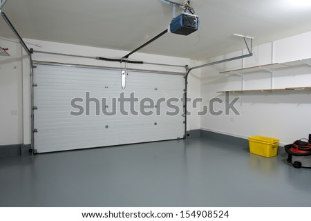Interior of a clean garage in a house - stock photo