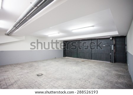 Interior of a clean garage in a house