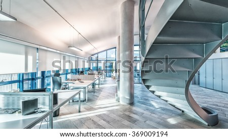 Interior of a company modern office. - stock photo