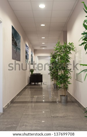 Interior of a contemporary new office building - stock photo