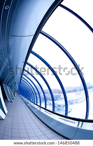 interior of a covered bridge Moscow City - stock photo