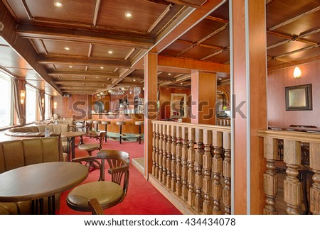 Interior of a cruise ship cafe bar
