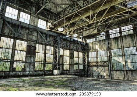 Interior of a derelict industrial building, HDR