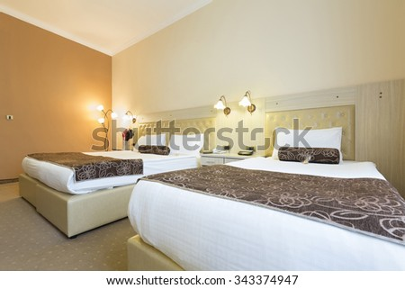 Interior of a double bed hotel room