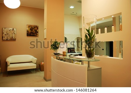 Interior of a empty modern fashionable beauty salon - stock photo